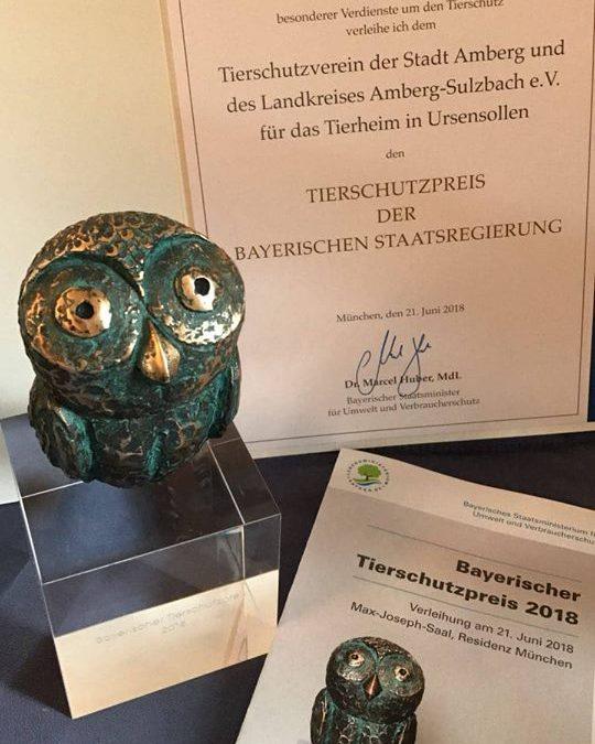 Bayerischer Tierschutzpreis 2018 für das Tierheim in Amberg